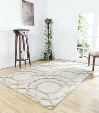Hand Tufted Ivory Beige Colour Geometric 5X8 Feet Wool Viscose Softer Area Rug