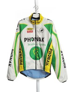 Mens Castelli Phonak Scott Vintage Cycling Jacket Jersey Padded White Size XS