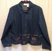 Blue Denim Jacket, Size XL Floral Embroidery Cotton NAPA VALLEY NWOT Casual