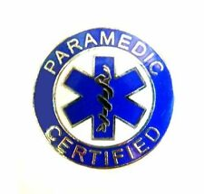 Paramedic Certified Collar Pin Device Silver Blue Blue Star of Life Uniform 61S2