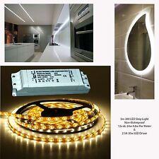 5m LED Tira de Luz del Gabinete Blanco Cálido 12v DC 24w no Impermeable & 30w LED Driver