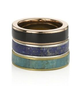 Pamela Love Multi Inlay Stack Rings Gold Rose Gold Silver Black Onyx Lapis Blue
