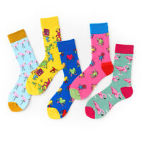 Colorful Flamingo Cotton Long Sock Women Men Casual Funny Cartoon Mid Stockings