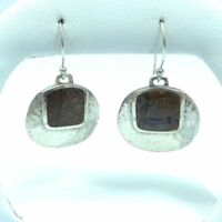 Silpada W1414 HTF Sterling Silver Hammered Bronzite Dangle Wire Earrings RARE