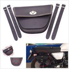Black Synthetic Leather Triangle Motorcycle Bikes Side Saddle Bag Luggage Pocket(Fits: Bear Bones)