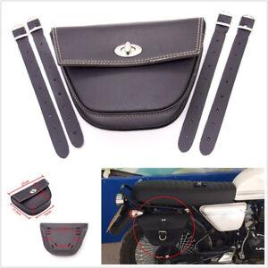 Black Synthetic Leather Triangle Motorcycle Bikes Side Saddle Bag Luggage Pocket