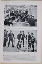 1896 BOER WAR ERA ON BOARD NAVY SAILORS MAKING & MENDING CLOTHES SHIP'S POSTMAN