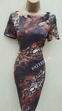 Size 10 UK Karen Millen Satin Brown Snake Skin Print Races Cocktail Pencil Dress