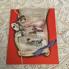 Vintage Greeting Card Christmas House Jingle Bells Ribbon