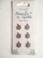 Dovecraft Magic & Sparkle Christmas 6 Metal Snowflake Charms  - silver colour