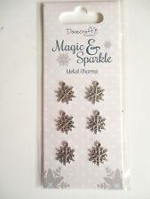 Dovecraft Magic & Sparkle Noël 6 Metal Snowflake Charms-Couleur Argent