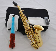 Top Gold Lacquer Bb Curved Soprano Sax saxophone high F# +FREE Reed mouthpiece