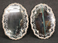 New listing Rare Pair Italian Murano Venetian Etched Glass Floral Wall Mirrors