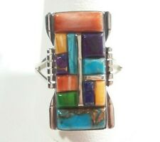 925 STERLING SILVER RECTANGLE DESIGN SPINY OYSTER LAPIS TURQUOISE SIZE 11 RING