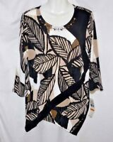 NEW WOMEN'S ALFRED DUNNER EMBELLISHED LEAF PRINT TUNIC TOP SIZE S $56 MSRP BNWT