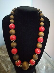Wooden Statement Red &Brown Necklace Chunky