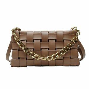 Women Shoulder Bag Chain Fashion Faux Leather Crossbody Baguette Ladies Purse