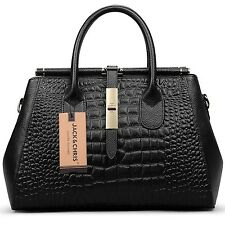 Jack&Chris Women Genuine Leather Crocodile Grain Shoulder Bag Top-handle Tote...