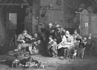 SCOTLAND BLIND FIDDLER PLAYS FAMILY KIDS ~ 1840 David WILKIE Art Print Engraving