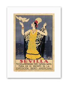SEVILLE SPAIN AMERICAN FESTIVAL WOMAN BIRD Poster Travel Canvas art Prints