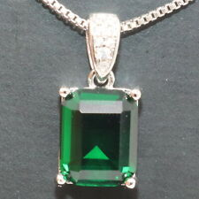 Gorgeous Green Emerald Pendant Chain Necklace Women Wedding Jewelry Gold Plated