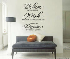 "Inspirational ""Believe Wish Dream"" Wall Stickers Removable Vinyl Decal Art Quote"
