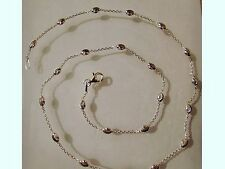 """Sterling Silver Beaded Ball Oval Moon Link Necklace Chain 18"""" G1291"""