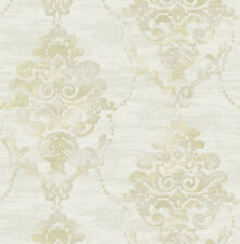 Tapete, Designtapete, Rohseide, florale Motive, Schimmer, Taupe, Sand, Olive