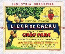 1940s BRASIL Nova Iguaçu Grao Para LICOR DE CACAU BAUNILHADO Wine Label