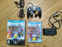 Super Smash Bros Wii U Bundle - game/gamecube controller/adapter/box