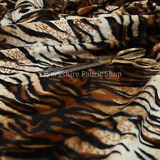 Safari Animal Tiger Brown Black Stripe Pattern Soft Velvet Fur Upholstery Fabric