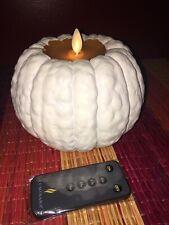 Luminara + Martha Stewart Wax Pumpkin Flameless Candle + Remote  - White