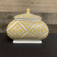 Lidded Bowl Decorative Jar Vase Yellow and White- Home Decor Accent