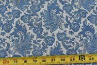 By 1/2 Yd, Vintage, Dusty-Blue Scrolls on Cream Looser-Weave Cotton, P4419