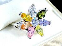FABULOUS SILVER-TONE PASTEL MULTICOLOR MARQUISE RHINESTONE FLOWER RING SIZE 7.75