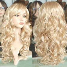 Model Long Wavy Synthetic Lace Front Wig Blonde Color Lace Curly Wigs for Women