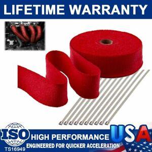 "2"" 50FT Manifold Exhaust Header Pipe Thermal Heat Wrap Tape W/ 10 Steel Ties Kit"