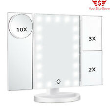 Lighted Vanity Makeup Mirror 21 LED Lights Touch Screen Folding 3X/2X/1X Travel