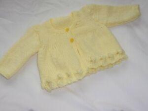 "Girl's Hand Knit Lemon Cardigan - 19""/49cms - 0 - 3 Months - BNWOT"