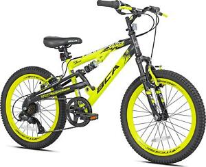 20 Inch Savage Boy's Mountain Bike Yellow Black Dual Suspension 7 Speed Kids New