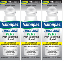 Salonpas LIDOCAINE PLUS 3 oz ROLL ON Pain Relieving Liquid (PACK OF 3)