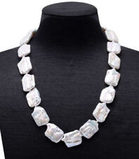 """Charming AAA 20mm huge rectangle Coin pearl baroque white pearl necklace 18"""""""