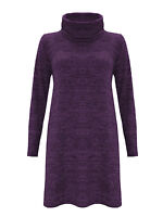 Womens Cowl Neck Mini Dress Jumper Ladies Knitted Long Sleeve Oversize Baggy Top