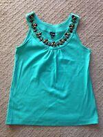 EUC Women's Rafaella Brown Knit Beaded Top-size S