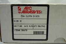 ARC Abrasives PSA Sanding Disc, AlO, Cloth, 8in, 80 Grit  Lot of 5 Sanding Discs