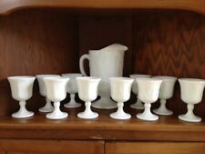 Milk Glass Pitcher and 10 Goblets
