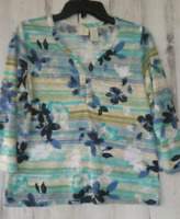 Caribbean Joe Womens Top Size Medium Petite Tropical Print 3/4 Sleeves