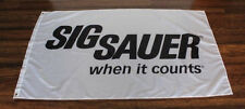 White Sig Sauer When It Counts Flag Firearms Sign Banner Logo Gun Shop Store NRA