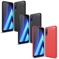 Pellicola vetro + Custodia cover Rugged Carbon Design per Samsung Galaxy A7 2018