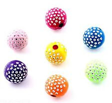 100 Pcs Mixed color Acrylic Loose beads Spacer findings Disco Ball charms 10mm